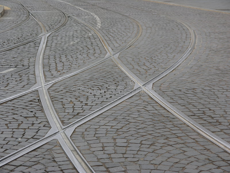 Download Tramway Tracks stock image. Image of road, cobblestone, tracks - 76507