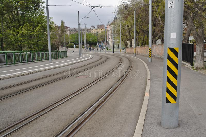 Tramway tracks in city center royalty free stock photo