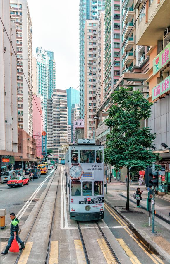 Tramway transport is popular in Hong Kong. Only tram railway network provides transportation along Hong Kong Island royalty free stock image