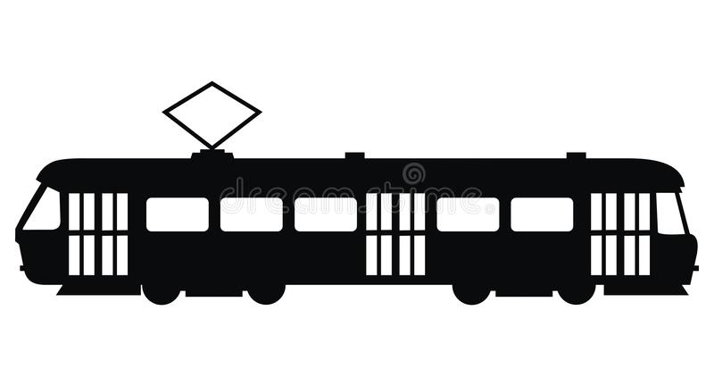 Tram, vector icon, black silhouette vector illustration
