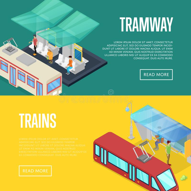 Tramway waiting station isometric 3D posters stock illustration