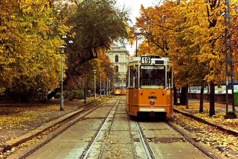 Tramways en Europe image libre de droits