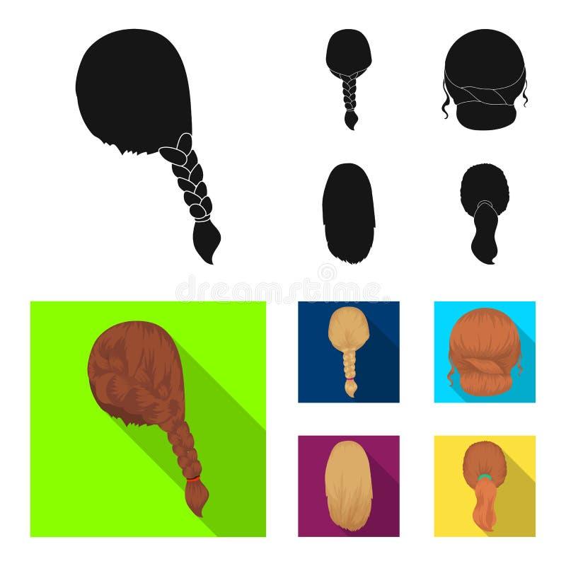 Trança clara, cauda dos peixes e outros tipos de penteados Ícones ajustados da coleção do penteado traseiro no vetor preto, liso  ilustração do vetor