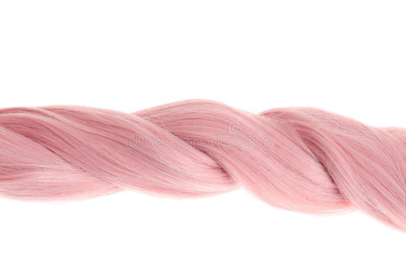Trança cor-de-rosa torcida close up do cabelo fotografia de stock royalty free