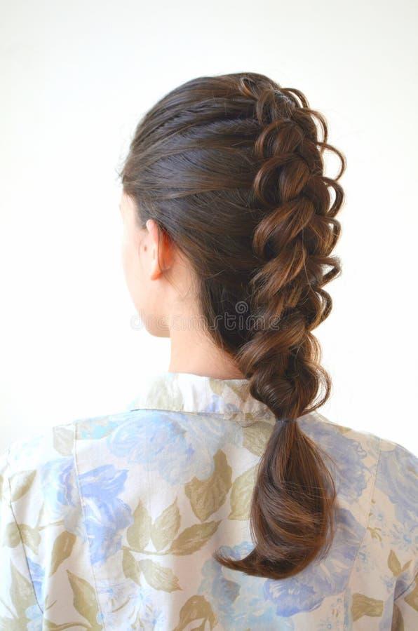 Trança francesa a céu aberto, penteado com comprimento longo do cabelo imagens de stock royalty free