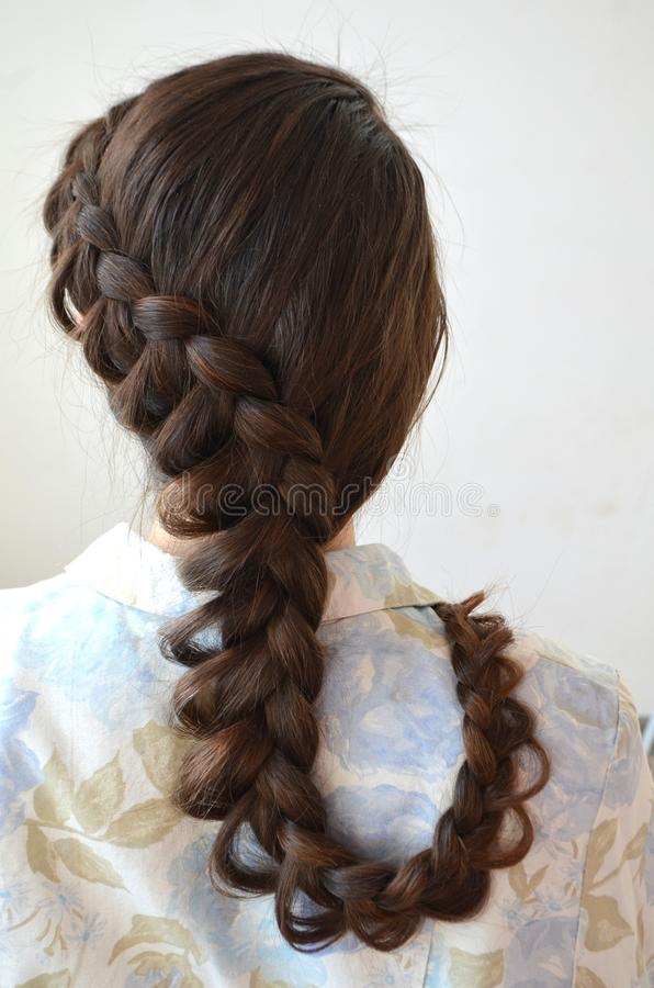 Trança francesa a céu aberto, penteado com comprimento longo do cabelo foto de stock royalty free