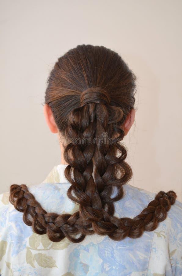 Trança francesa a céu aberto, penteado com comprimento longo do cabelo fotografia de stock royalty free