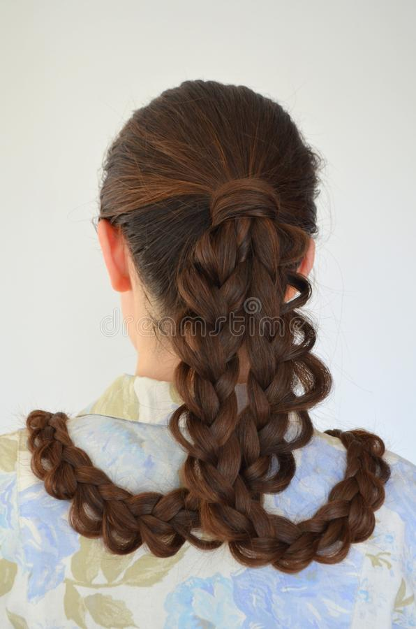 Trança francesa a céu aberto, penteado com comprimento longo do cabelo foto de stock