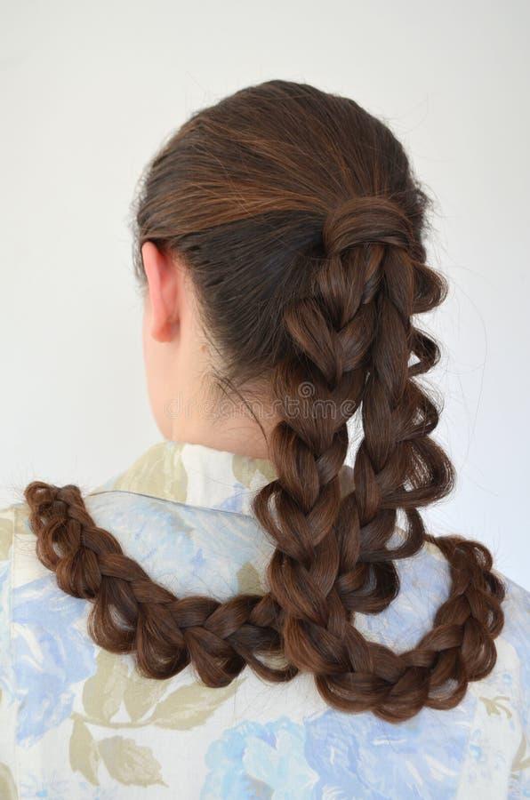 Trança francesa a céu aberto, penteado com comprimento longo do cabelo imagem de stock
