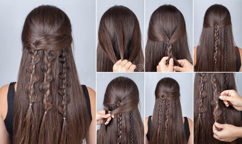 Tranças do boho do penteado três tutoriais fotografia de stock