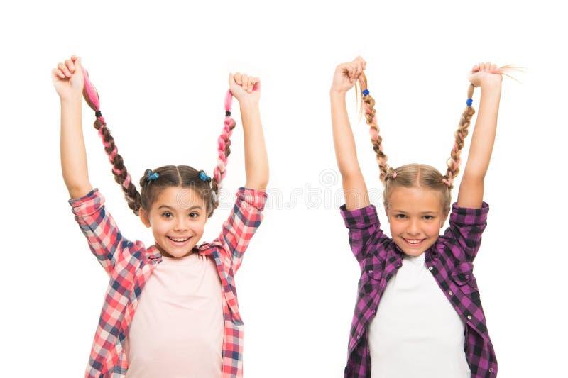 Tranças longas das meninas Tend?ncia da forma Cutie elegante Inf?ncia feliz Mantenha o cabelo trançado Irmãs com cabelo trançado  imagens de stock