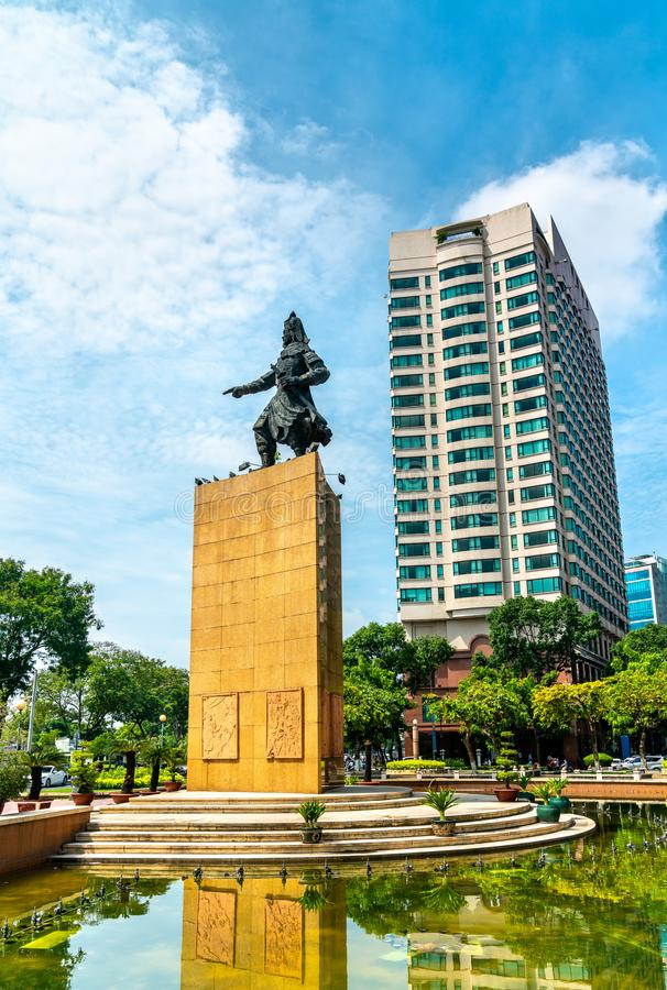 Tran Hung Dao statue on Me Linh Square in Saigon, Vietnam. Tran Hung Dao statue on Me Linh Square in Ho Chi Minh City, Vietnam royalty free stock photography