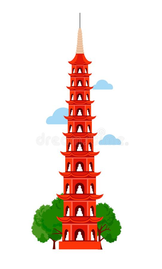 Tran Quoc Pagoda stock illustrationer