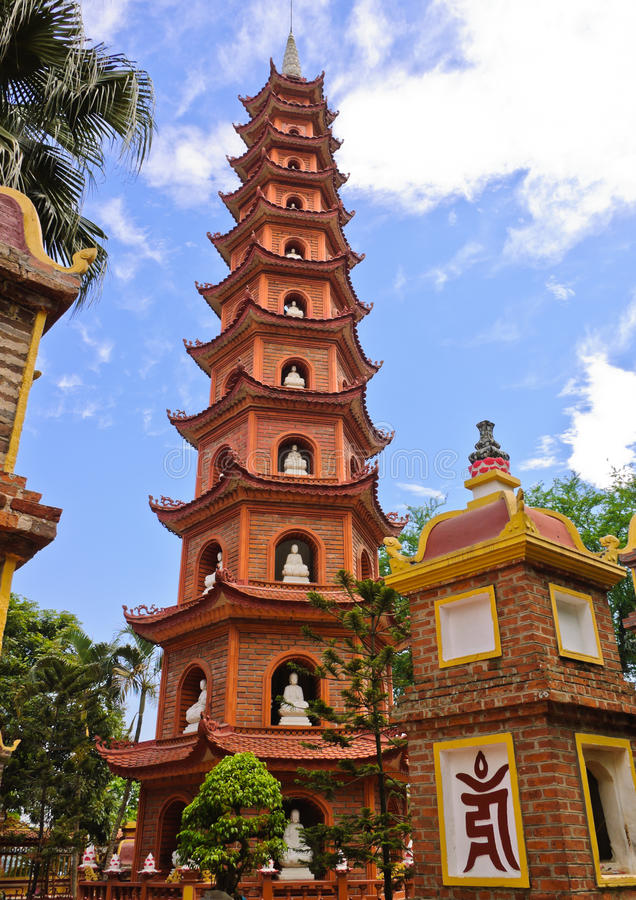 Tran Quoc pagoda. Is oldest pagoda in Hanoi, Vietnam stock images