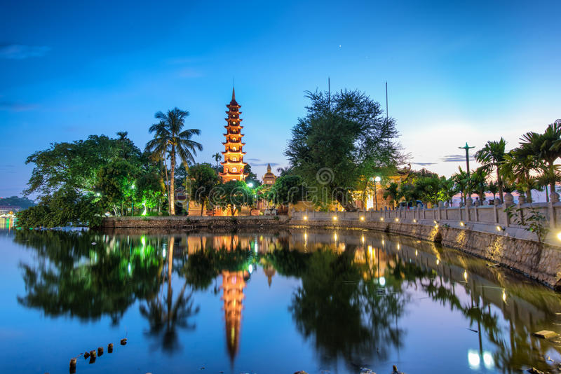 Tran Quoc Pagoda. The Tran Quoc Pagoda in Hanoi is the oldest pagoda in the city, originally constructed in the sixth century during the reign of Emperor Ly Nam royalty free stock images