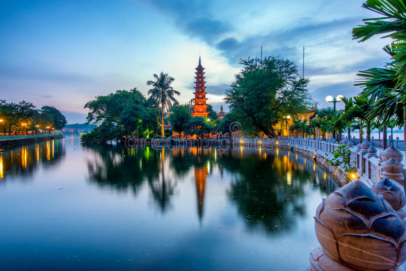 Tran Quoc Pagoda. The Tran Quoc Pagoda in Hanoi is the oldest pagoda in the city, originally constructed in the sixth century during the reign of Emperor Ly Nam royalty free stock photography