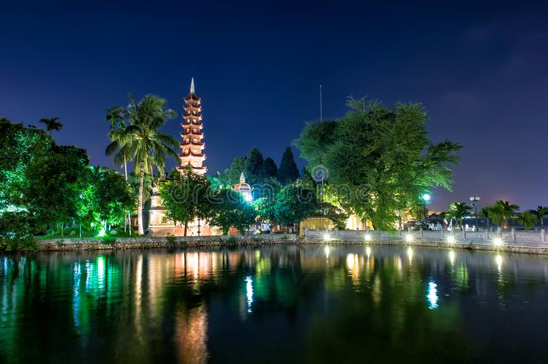 Tran Quoc pagoda. At night in Hanoi capital, Vietnam. Its built in 541 and the oldest pagoda in Hanoi. The pagoda is recognized as the National Cultural History stock photography