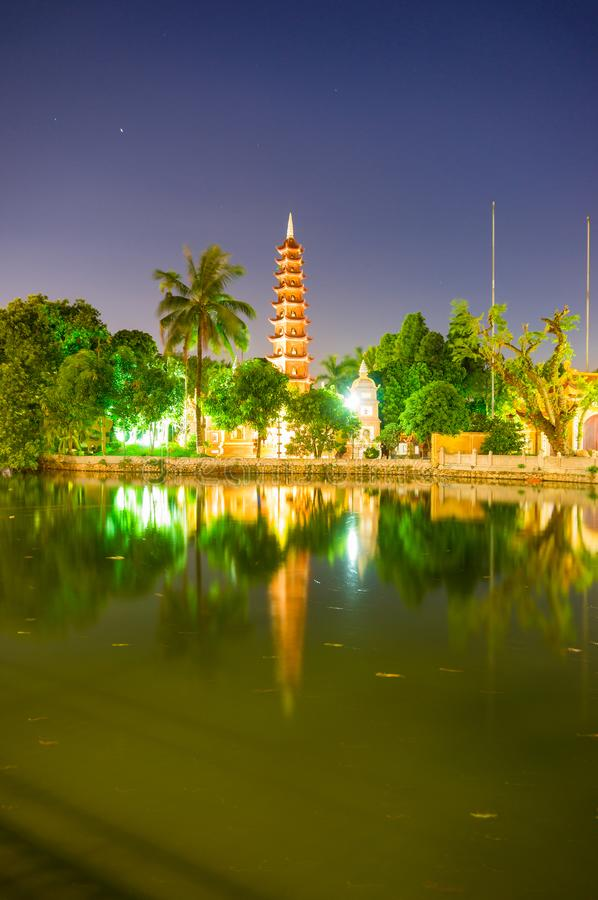 Tran Quoc Pagoda. At night. Hanoi, Vietnam stock photography