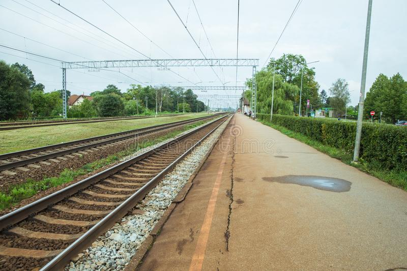 Tran station and iron ways. Urban city view, nature and industry stock photos