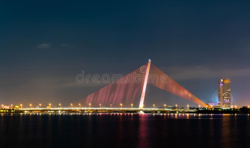 Tran Thi Ly Bridge in Da Nang, Vietnam. The Tran Thi Ly Bridge across the River Han at Da Nang, Vietnam stock image