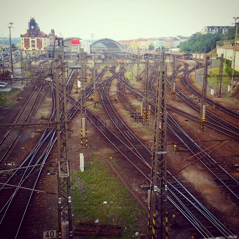 Tran tracks. In Prague royalty free stock photography