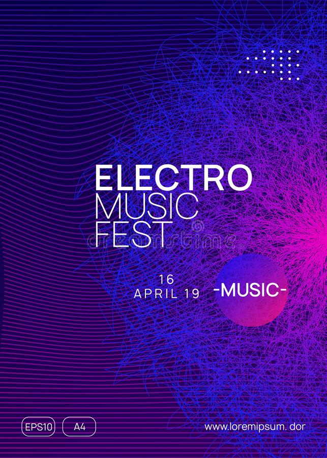 Neon club flyer. Electro dance music. Trance party dj. Electronic sound fest. Techno event poster. Trance party. Dynamic gradient shape and line. Abstract show royalty free illustration
