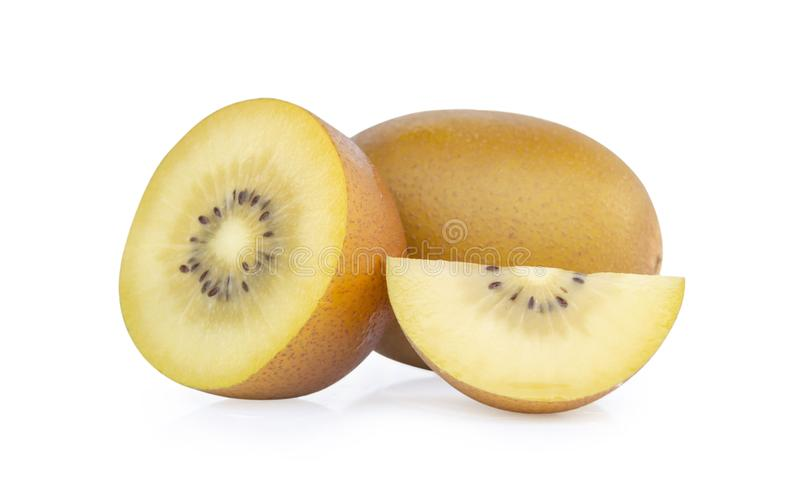 Tranche d'or fraîche de kiwi d'isolement sur le fond blanc, conce de fruit image libre de droits