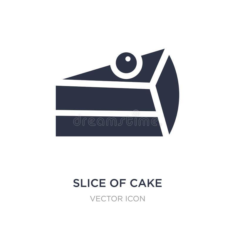 tranche d'icône de gâteau sur le fond blanc Illustration simple d'élément de concept de partie illustration stock