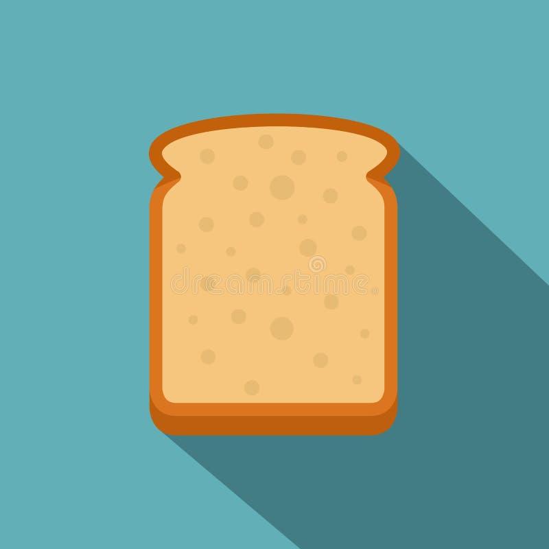Tranche d'icône de pain blanc, style plat illustration libre de droits