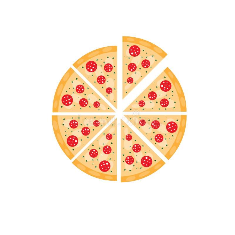 Tranche d'illustration plate italienne de vecteur de style d'aliments de préparation rapide de pizza de margarita illustration de vecteur