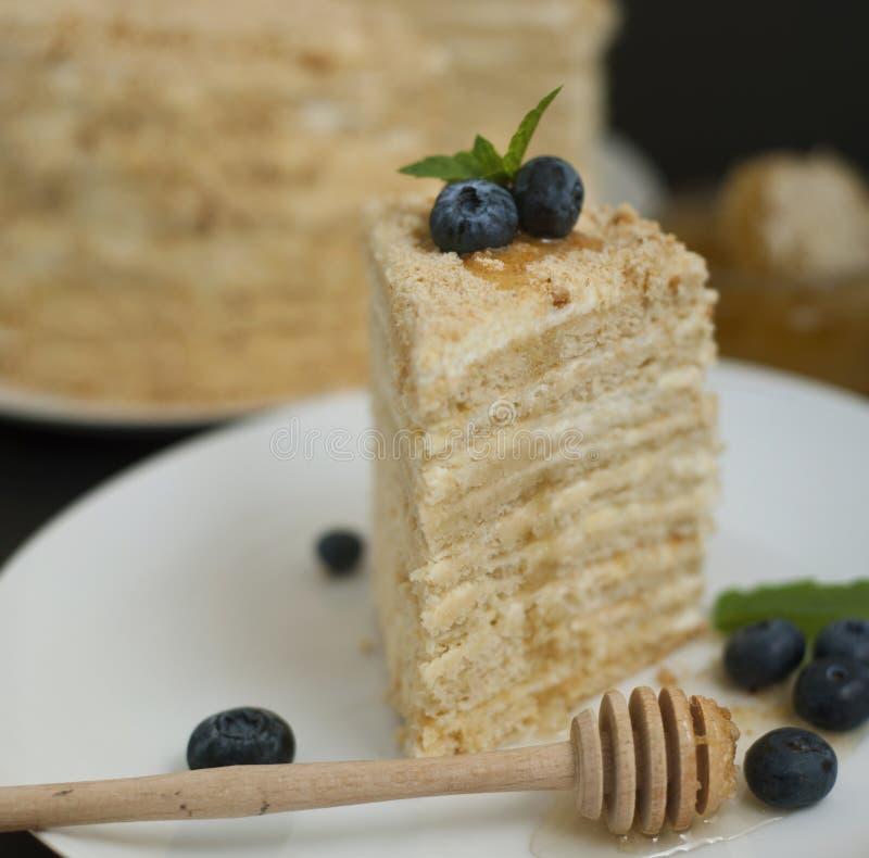 Tranche d'image ronde blanche posée de place de fond de noir de plat de miel de gâteau de bluebery fait maison de foyer sélectif photographie stock libre de droits