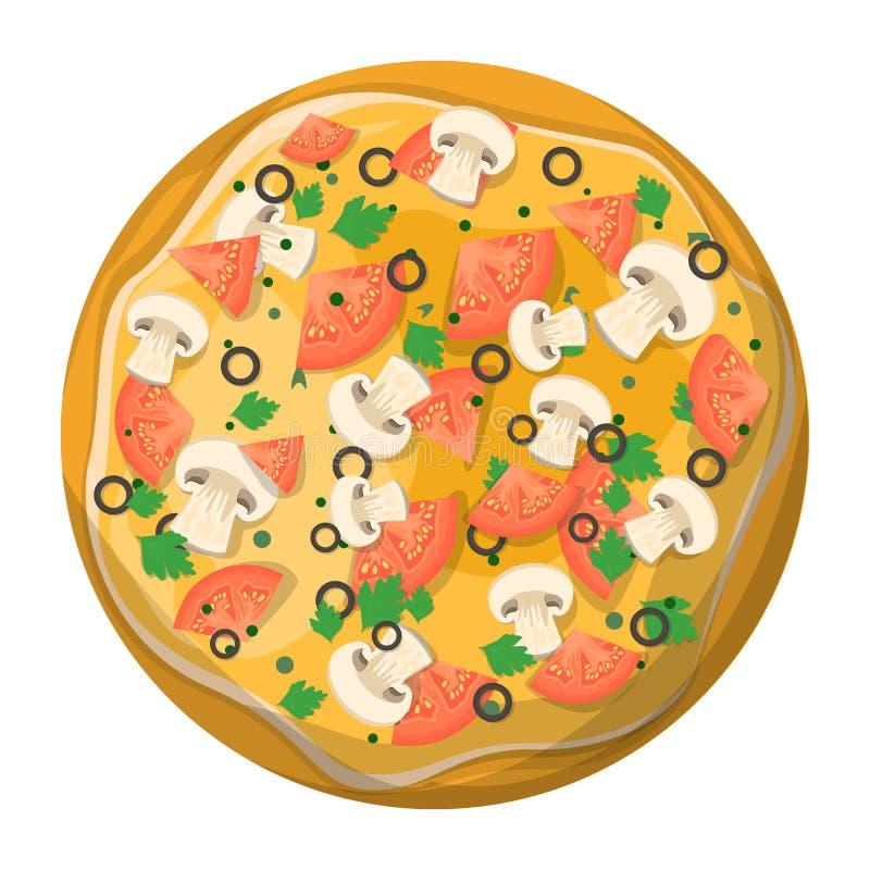 Tranche d?licieuse savoureuse de pizza Nourriture italienne de fromage illustration stock