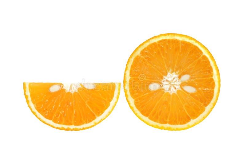 Tranche d'orange fraîche avec la graine d'isolement sur le fond blanc image stock