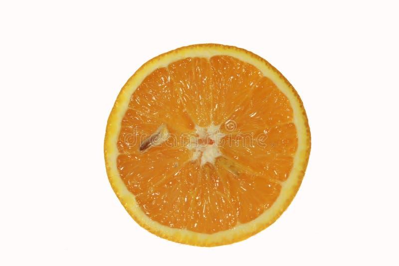Tranche d'orange fraîche d'isolement photos stock