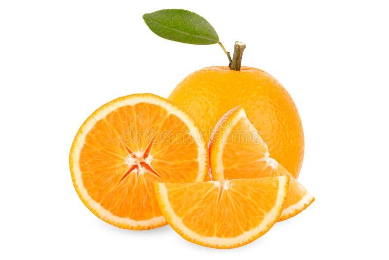 Tranche d'orange fraîche d'isolement sur le fond blanc photographie stock