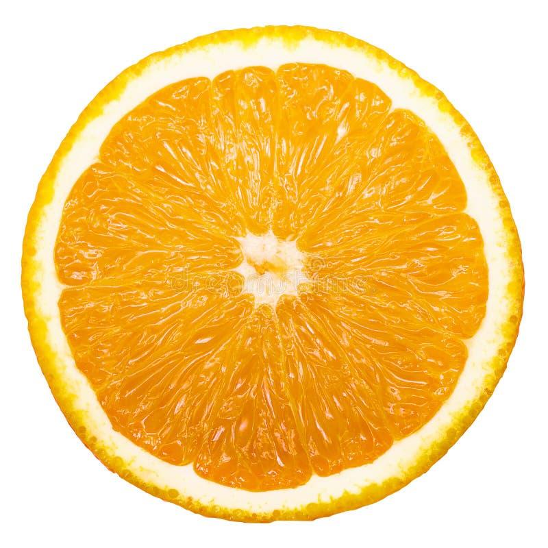 Tranche d'orange fraîche d'isolement sur le fond blanc photos libres de droits