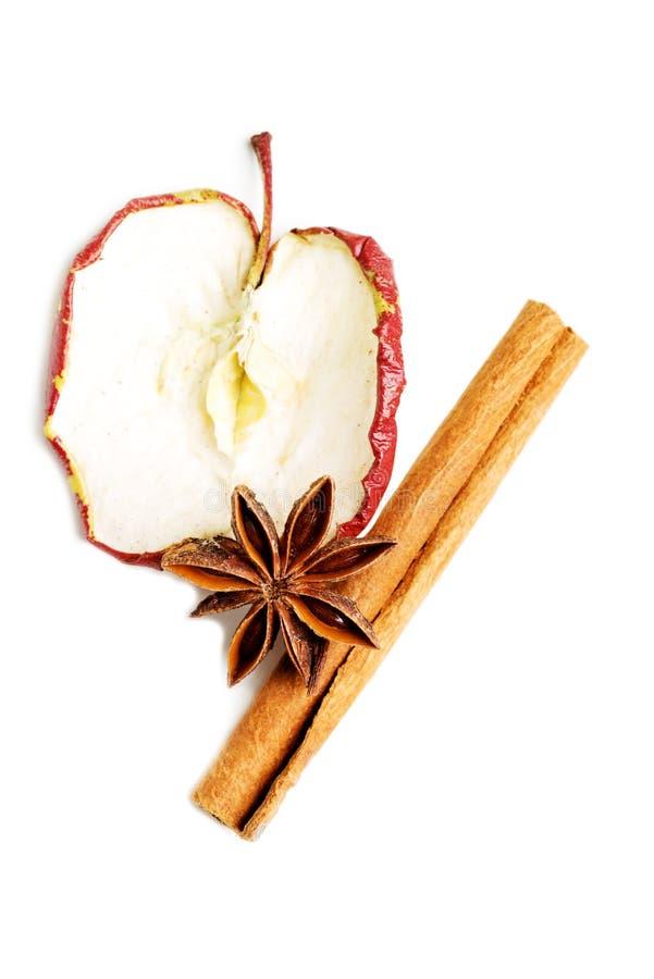 Tranche d'une pomme avec l'anis et la cannelle d'étoile. images libres de droits