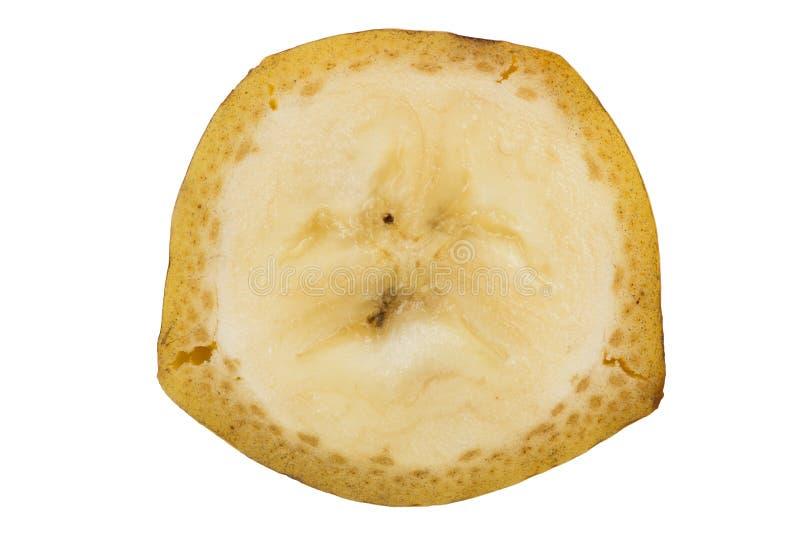 Tranche de banane d'isolement sur le fond blanc photographie stock