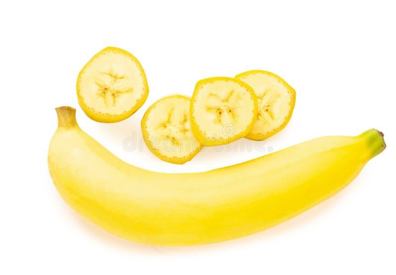 Tranche de banane de vue supérieure d'isolement sur le fond blanc image stock