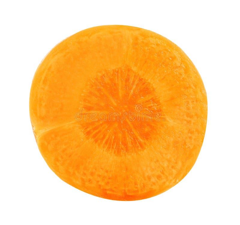 Tranche de carotte Vue supérieure de carotte d'isolement sur le blanc images stock