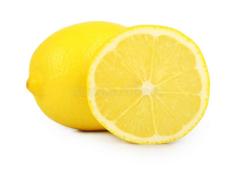 Tranche de citron d'isolement sur le fond blanc image libre de droits