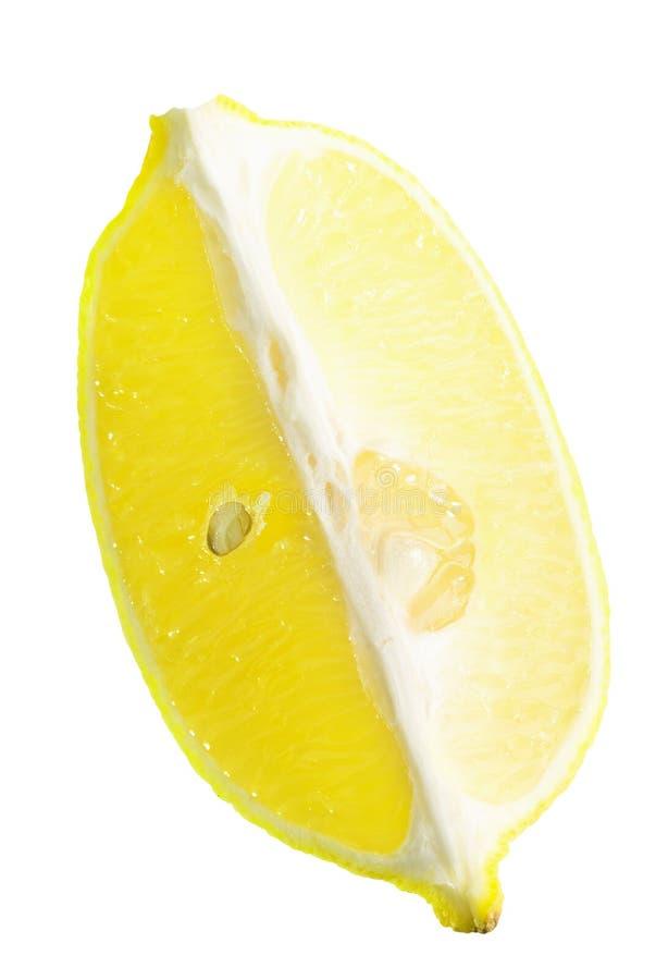 Tranche de citron d'isolement sur le fond blanc image stock