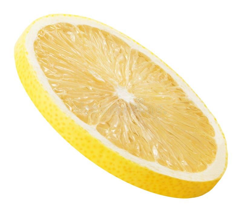 Tranche de citron d'isolement sur un fond blanc photos libres de droits