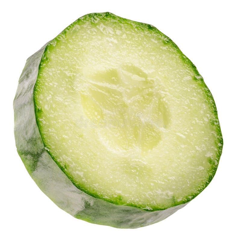 Tranche de concombre d'isolement sur un fond blanc image stock