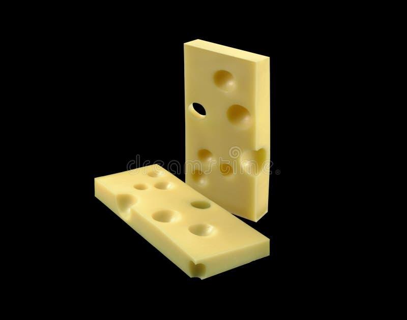 Tranche de fromage d'Emmenthal image stock