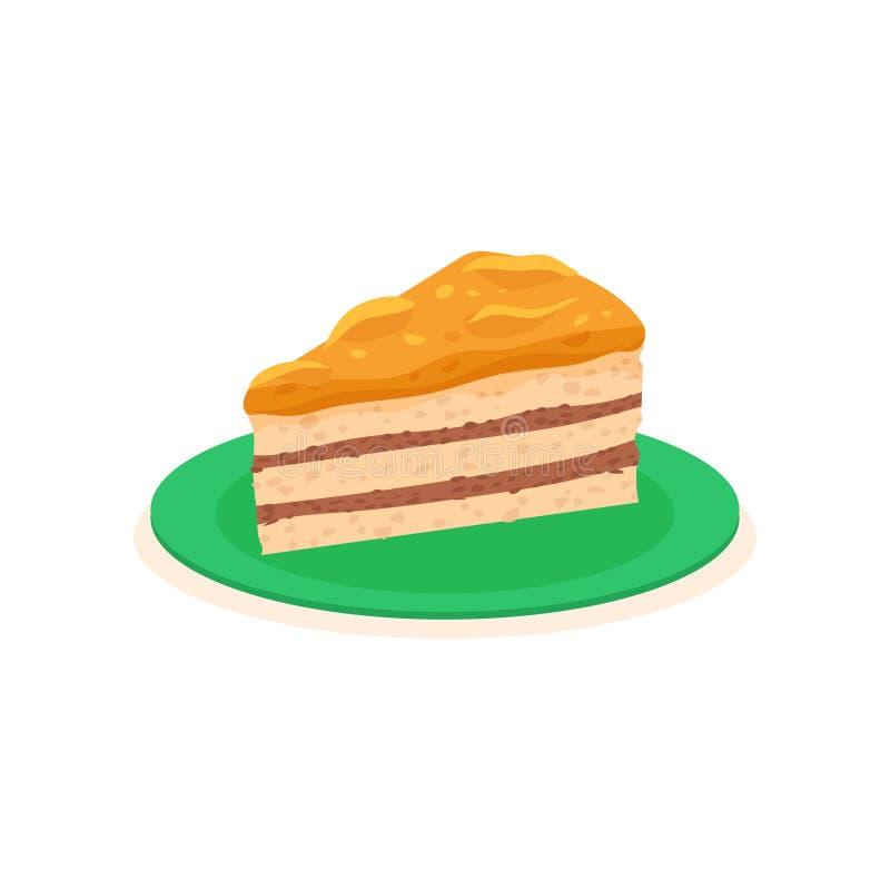 Tranche de gâteau appétissant avec la confiture de kaki Dessert savoureux de plat vert Nourriture douce Élément plat de vecteur p illustration stock