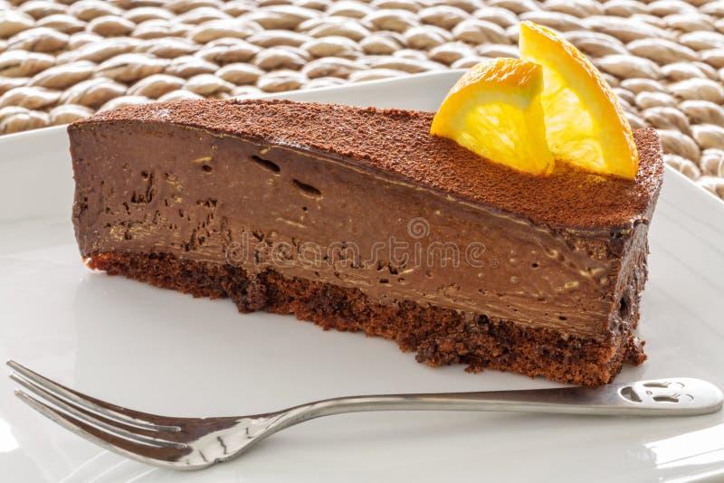 Tranche de gâteau de chocolat photos libres de droits