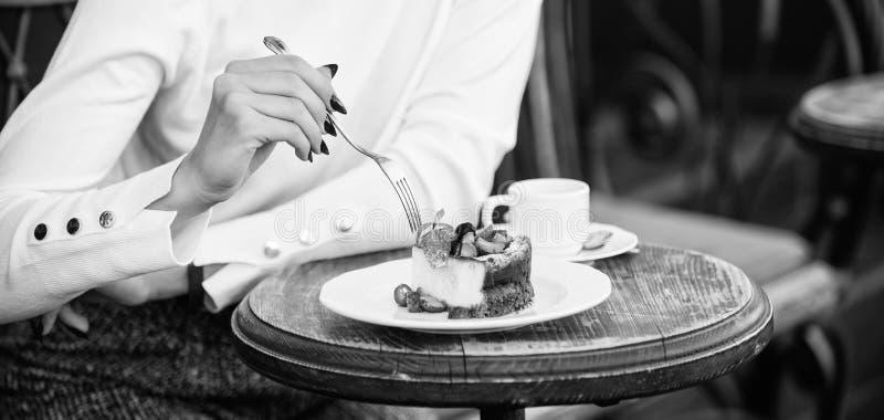 Tranche de g?teau du plat blanc G?teau avec le dessert d?licieux cr?me concept d'app?tit Tasse de g?teau de dessert de caf? et de image libre de droits