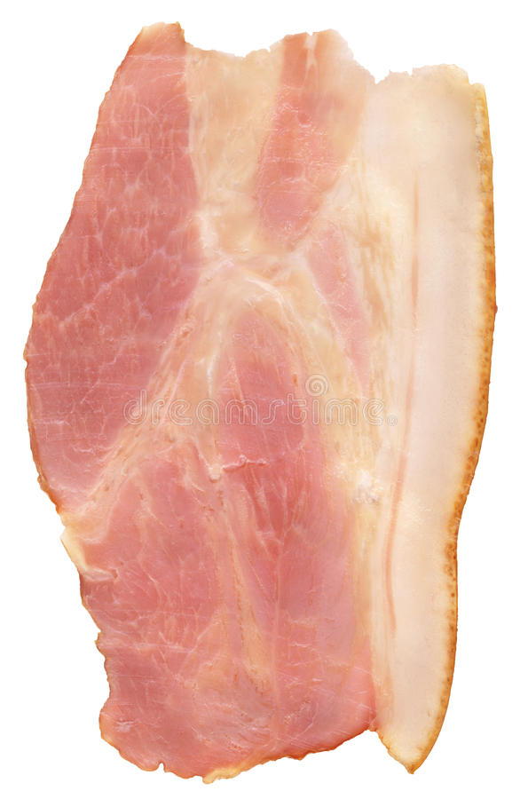 Tranche de lard fumée de lard de ventre de porc d'isolement sur le fond blanc photographie stock