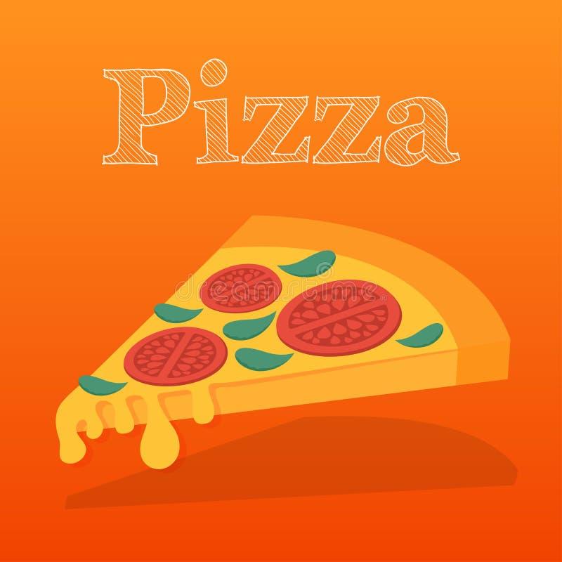 Tranche de margarita de pizza Illustration plate de vecteur illustration de vecteur